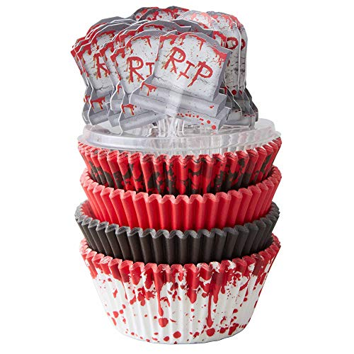 Bloodspatter Standard Cupcake Liners, 125 Count with Tombstone Toppers by Wilton -