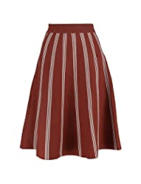 YSJ Women's Knitted Skirts A-Line Pleated Striped Midi Swing Skirt Petite