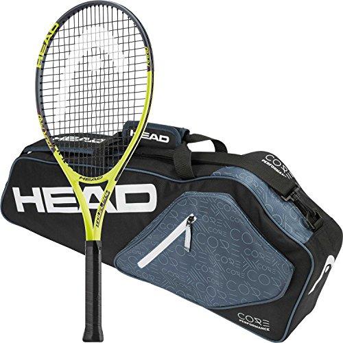Head Tour Pro Pre-Strung Tennis Racquet (Grip Size 4 1/4) bundled with a Core 3 Racquet Pro Tennis Bag