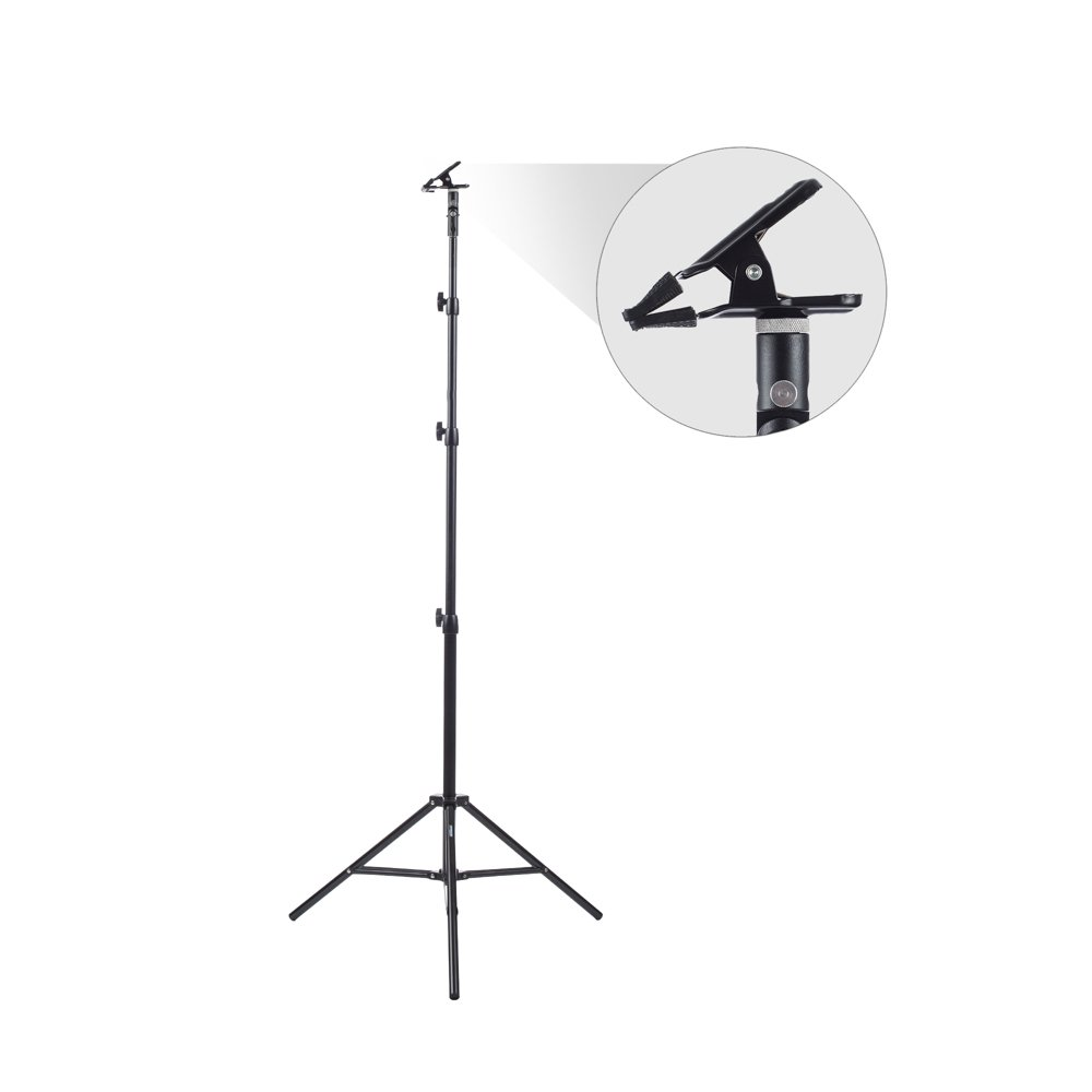 Fovitec - 1x Multi Purpose Heavy Duty Clamp Kit - [8'6'' Stand Included][Holds Reflectors, Backdrops & Diffusers][180 Degree Positioning][Metal Construction]