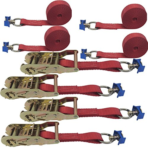 Cargo Equipment Corp. 4 Pack of 1in X 20ft Red Ratchet Strap with L-Fittings