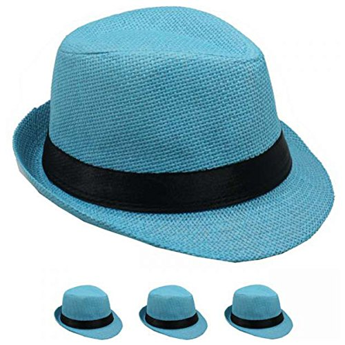 Banded Straw Fedora HAT for Kids Trilby Gangster Panama Classic Vintage Short Brim Style (Blue)