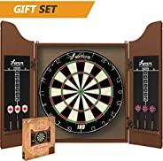 Swiftflyte Classic Cabinet and Bristle Dartboard Set with Staple-Free Bullseye, Rotating Number Ring, Tightly