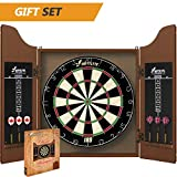 swiftflyte classic cabinet and bristle dartboard set with staple-free bullseye, rotating number