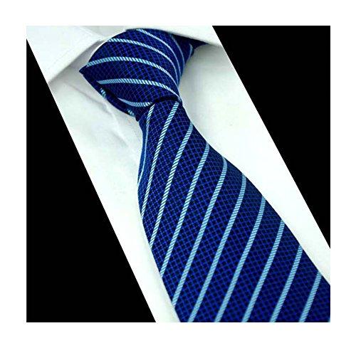 Mens Bright Blue Stripe Woven Silk Tie Formal Fashion Thanksgiving Dress Necktie