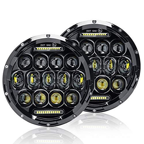 Uni-light LED Round Headlight 7 inch 2pcs Cree E-MARK Approved 6000K Hi/lo Beam and DRL lamp Halo for Jeep Wrangler JK TJ LJ Harley Davidson, J005-2pcs ()