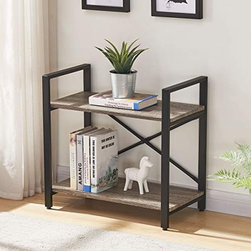 BON AUGURE Small Bookshelf for Small Space, 2 Shelf Low Metal Bookcase, Industrial Shelving Unit with Short Shelves, Dark Oak (Shelf Small Book)