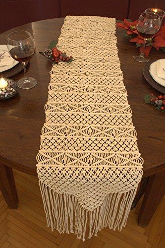 Bohemia Handmade Natural Macrame Table Runner, macrame table placement, Macrame table Centerpiece, Bed Runner Wedding Home Boho Decor (14''W x ''80L)