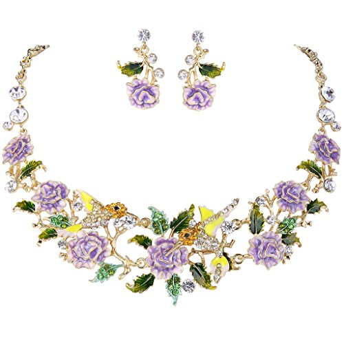 (EVER FAITH Crystal Enamel Hummingbird Hibiscus Flower Leaf Necklace Earrings Set Purple Gold-Tone)
