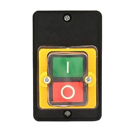 Interruptor de Botón, Interruptor de ON/OFF, Interruptores de Botón, Interruptor de Motor, Interruptor Trifasico, con Caja Inferior Impermeable a Prueba de Polvo para Equipos Eecánicos