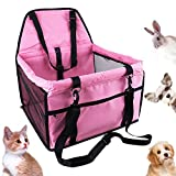 HankRobot Portable Dog Pet Car Seat for Dog Cat Booster seat Foldable Bag with Seat Belt Dog Carrier Safety Stable for Puppy Kitty Travel with Clip on Leash up to 25lbs (Pink)