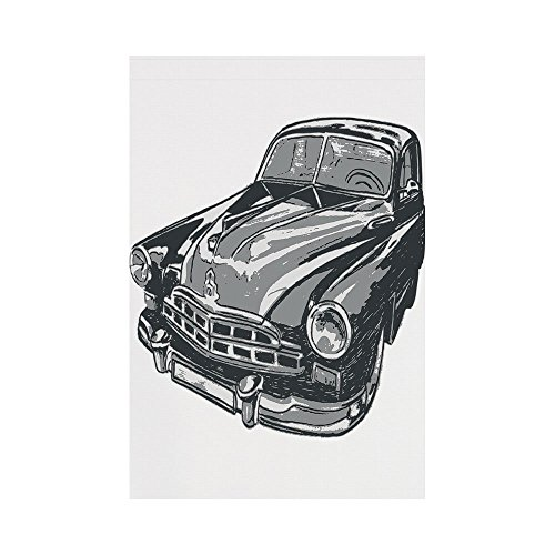 Polyester Garden Flag Outdoor Flag House Flag Banner,Cars,Hand Drawn Vintage Vehicle with Detailed Front Part Hood Lamps Rear View Mirror,Grey Blue Grey,for Wedding Anniversary Home Outdoor Garden (Rear Detailed Notes)