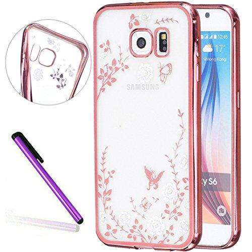 S7 Cover Samsung Galaxy S7 Cover ,EMAXELER Bling Swarovski Crystal Rhinestone Diamond Plating Frame Flexible TPU Cover for Samsung Galaxy S7 Butterfly & White flowers[Rose]