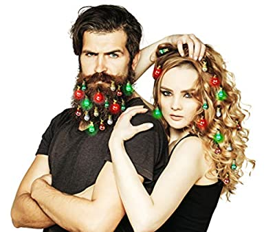 Beardaments Lights- Light Up Beard Ornaments, 16pc Colorful Christmas Facial Hair Baubles for Men in The Holiday Spirit with Clip for Easy Beard Attachment