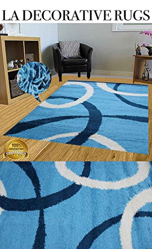 LA DECORATIVE RUGS HUGE BLOWOUT SALE NEW Light Blue White Navy Turquoise Shaggy Shag Area Rug 8×10 Modern Design High End Quality Flokati High Pile Soft Iridescent Sheen Ultra Plush Review