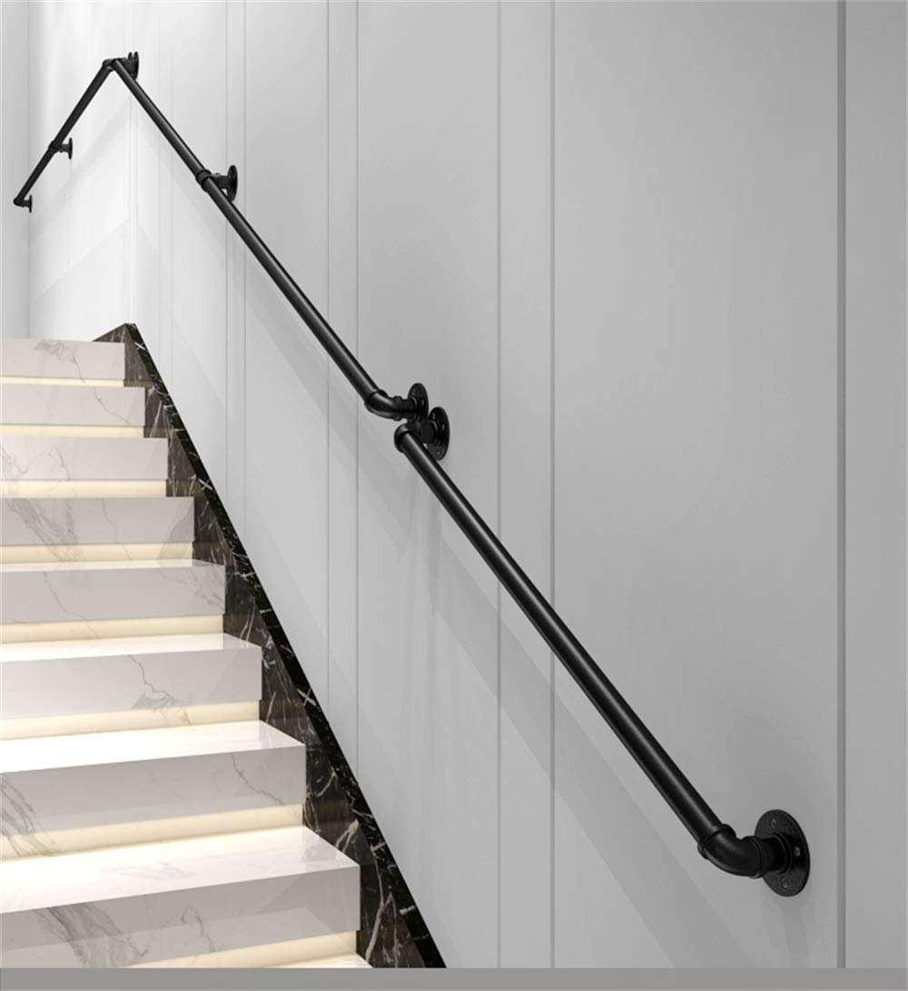 pasamanos Interiores y Exteriores multifunci/ón pasamanos Antideslizantes de Seguridad para ni/ños Mayores 30-600cm Pasamanos industriales de Escalera de Tubo de Hierro Forjado Negro