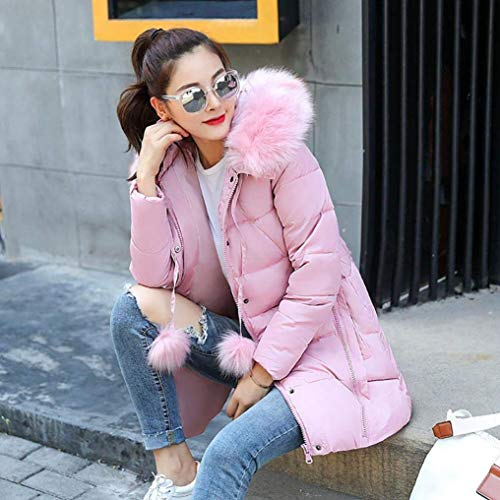 Color Outerwear Solid Hood Quilted Women's Leisure BoBoLily Pink Outerwear Fur Fit Style Coat Special Oversize Transition Derbe with Winterparka Thicken Warm Long RxS6SZwO