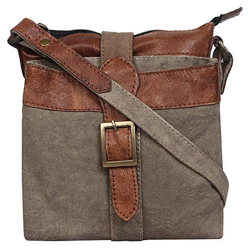 Mona B, Intermix Upcycled Military Tent Canvas Crossbody Bags (Sage)