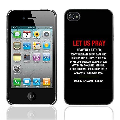 DREAMCASE Citation de Bible Coque de Protection Image Rigide Etui solide Housse T¨¦l¨¦phone Case Pour APPLE IPHONE 4 / 4S - LET US PRAY IN JESUS' NAME, AMEN