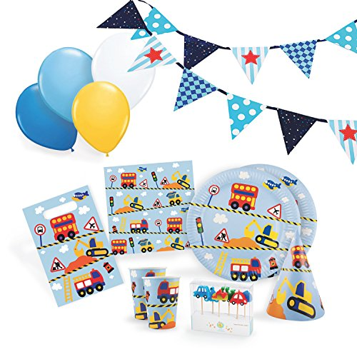 Transportation-Party-Supplies-Set-for-12-Birthday-Party-Kit-includes-Cups-Plates-Napkins-Balloons-Hats-Favor-Bags-Candles-and-Banner