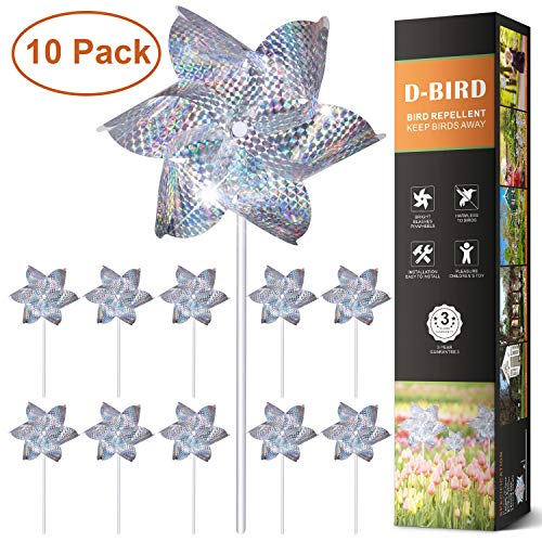 (JFDWOPHT Bird Repellent PinWheels, High Effective Reflection Materials to Scare Birds Away,Sparkly Silver Spinners, Animal and Pests Deterrent-10 Pack (Pinwheel))