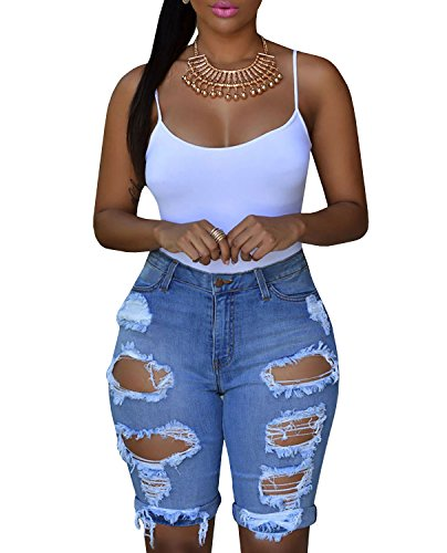 Blue Bermuda (Dellytop Women High Waist Hole Destroyed Denim Bermuda Shorts Cut Off Jean Shorts)