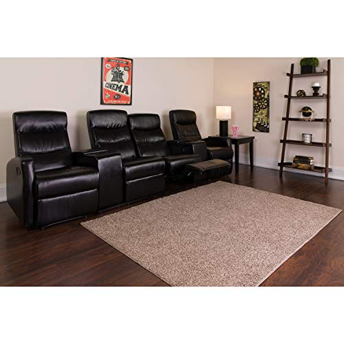 Flash Furniture Anetos Series 4-Seat Reclining Black Leather Theater Seating Unit with Cup Holders (Movie Seating)