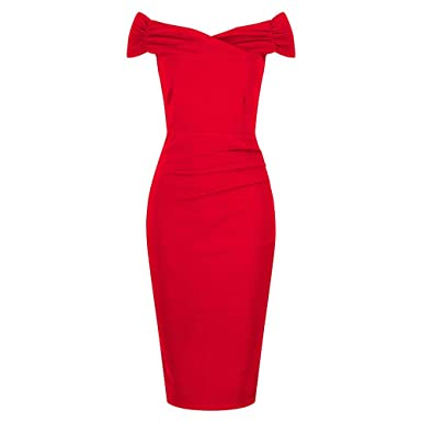 5d69735f650c Pretty Kitty Fashion 1940s Vintage Red Bardot Crossover Wiggle Dress:  Amazon.co.uk: Clothing
