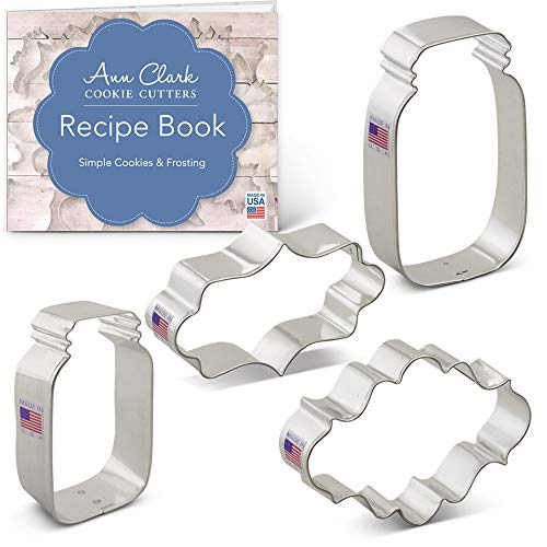 Mason Jar & Plaque Cookie Cutter Set with Recipe Booklet - 4 piece - Ann Clark - Tin Plated Steel