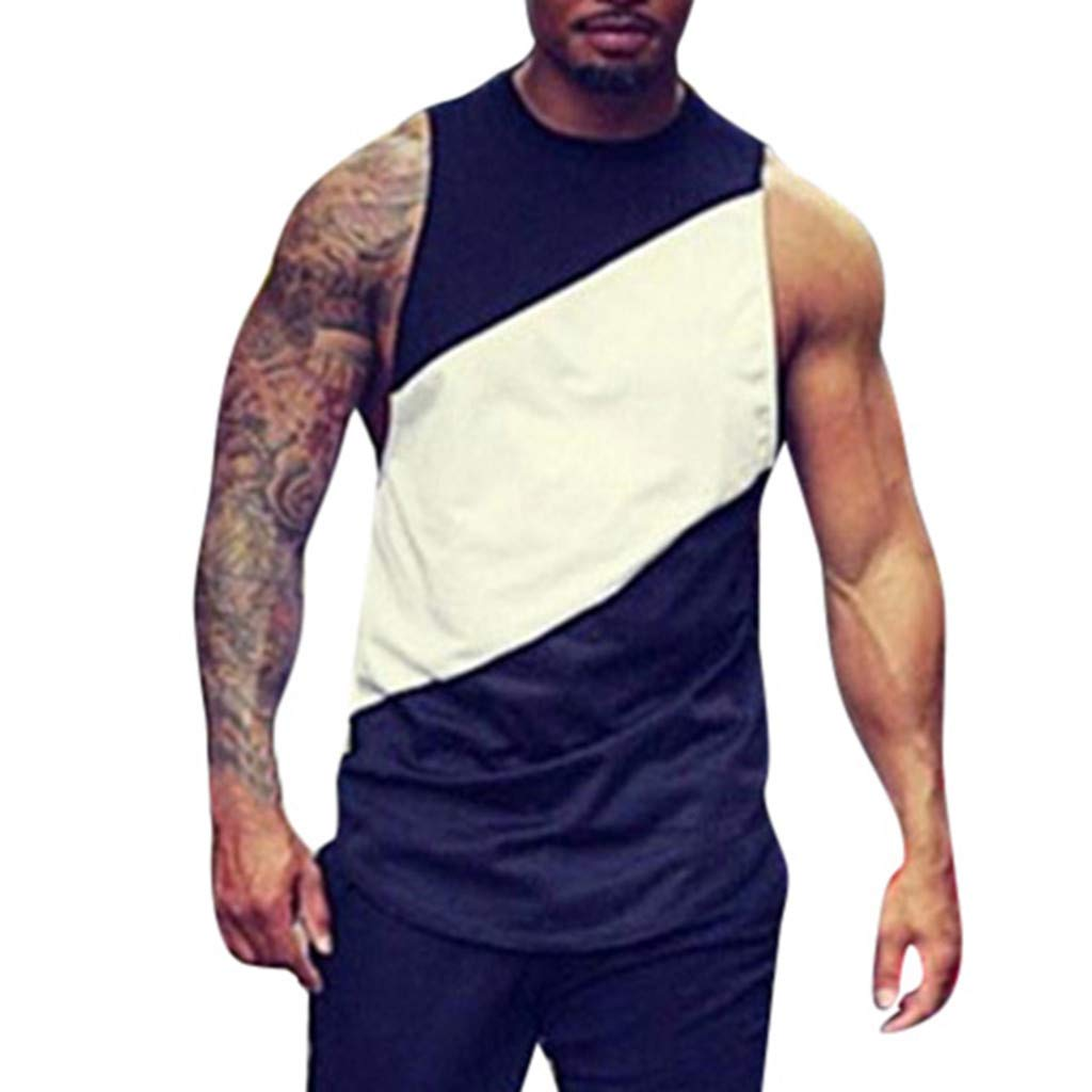 MISYAA Tank Tops for Men, Breathable Sport Tank Top Sleeveless Basic Sweatshirt Stripes Tee Masculinity Gifts Mens Tops Black