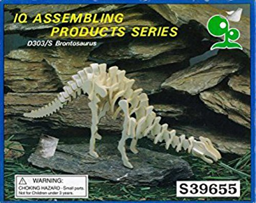 IQ Assembling Products Series 3-D Wooden Fossil Skeleton Dinosaur Model Kit Project Puzzles - 4 pack, 4 different Dinosaurs (Kit Wooden Skeleton)