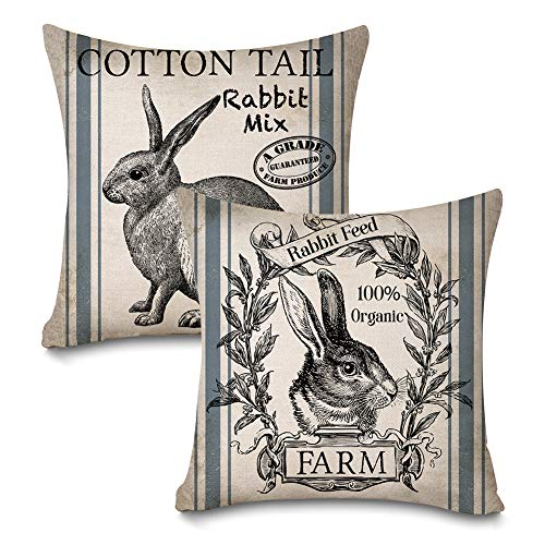 Faromily Vintage Farmhouse Bunny Throw Pillow Covers Retro Farm Rabbit Feed Home Décor Cotton Linen Throw Pillow Case Cushion Cover 18