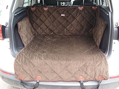 EZPETS Luxury Dog Seat Covers For Cars,Dog Car Seat Hammock Convertible,Universal Fit,Extra Side Flaps,Exclusive Nonslip,Waterproof Padded Quilted,Brown (L)