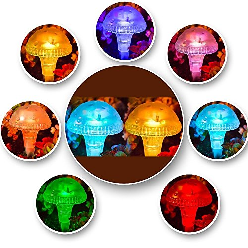 Fashionlite solar lights outdoor garden stakes color changing mushroom lights fo ebay for Solar garden stakes color changing