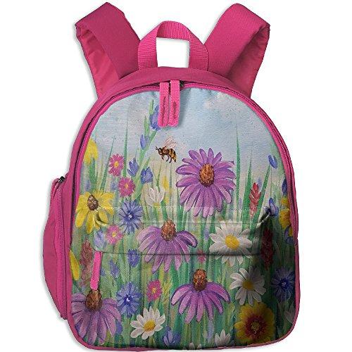 Wild Flowers Art Print Child School Backpack Children School Bag Pink For Boy's (Papas And Beer Halloween Party)