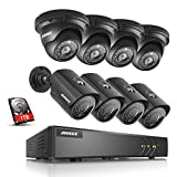 ANNKE 8CH H.264+ Surveillance System 1080P Lite DVR Recorder with 1TB HDD and (8) 1.30 Megapixels 960P Outdoor Security Cameras, IP66 Weatherproof Metal Housing