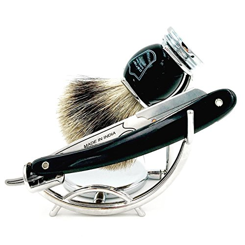 Parker's SRB Replaceable Blade Straight Edge Barber Razor Shave Set - Includes...