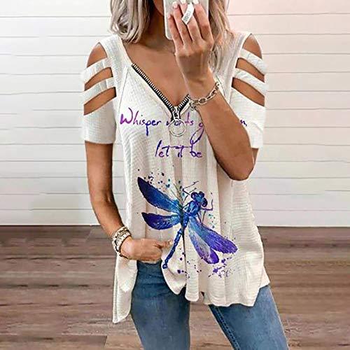 Kavitoz Damen Blusen Elegante Reißverschluss Bluse Tunika Oberteile T-Shirt V-Ausschnitt Tops Damen T-Shirt Sommer Tunika Lose Oberteil V-Ausschnitt Tops Tops Sommerbluse Tops Shirt