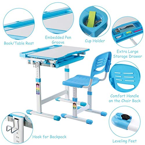 Multifunctional Height Adjustable Children's Desk Chair Set - Blue Only by eight24hours by CWY (Image #4)