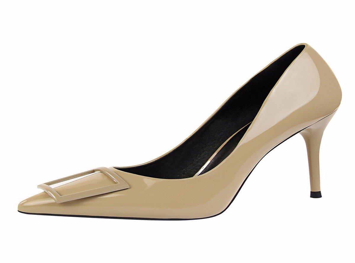HBDLH-Damenschuhe/Ein Paar Schuhe Mode Schuhe mit Hohen Absätzen und Vier Hat Knöpfe.