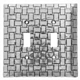 Wendell August Basketweave Double Switch Plate Cover, Aluminum