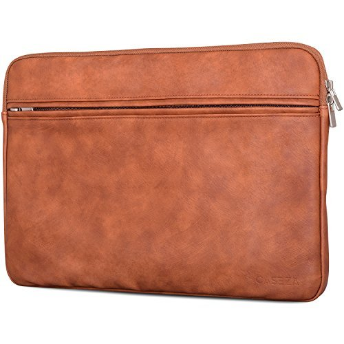CASEZA Boston MacBook Air 13 & Pro 13 PU Leather Laptop Sleeve Brown - Premium Vegan Leather Case for 13 Inch Notebook - Bag also fits Microsoft Surface Book - Soft Protection & Classic Style