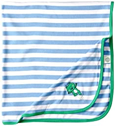 Little Me Baby Boys\' Leap Frog Blanket, Blue/White Stripe, One Size