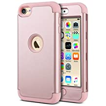 iPod 6 Case,iPod Touch 6 Case,ULAK [ 3in1 Hybrid F Style] Case for Apple iPod Touch 5 6th Generation Hybrid Protective Silicon Cover_2015 Released (Rose Gold)