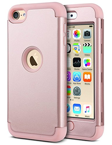 - ULAK iPod Touch Case, iPod 6 Case, iPod Touch 5 Case, Heavy Duty Protection Shockproof High Impact Knox Armor Protective Case for Apple iPod Touch 5 6th Gen/New iPod Touch (2019 Release), Rose Gold