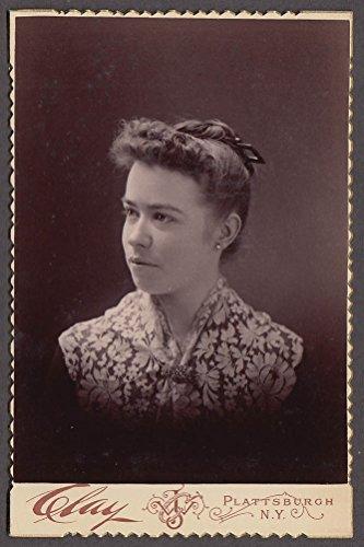 Ella Cunningham hair up cabinet by J W Clay Plattsburgh NY (1880s Cabinet)