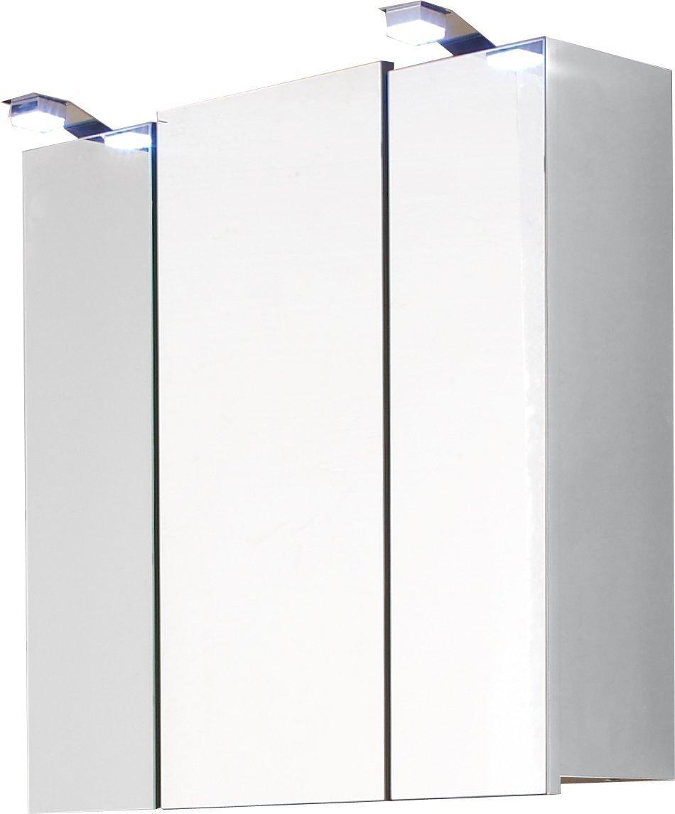 Badezimmer Spiegelschrank TORONTO weiß, 68 cm breit, LED beleuchtet, 3 Türen