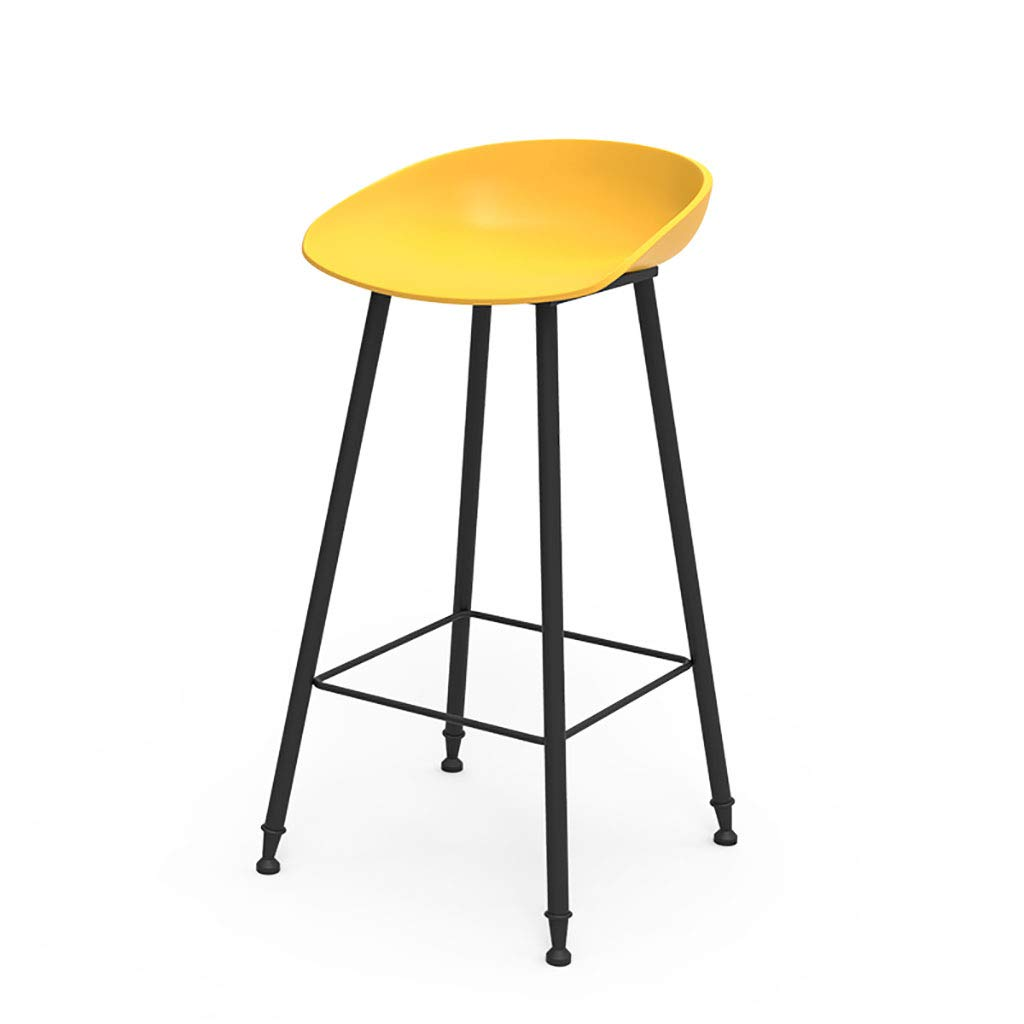 Yellow Bar Stool Metal Legs Fixed Height Barstool Black Matte Resin Seat, Office Coffee House Home Restaurant (Seat Height  65cm)