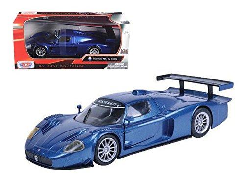 12 Blue Diecast Car - Motormax Maserati MC 12 Corsa Hard Top 1/24 Scale Diecast Model Car Blue