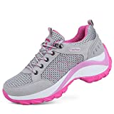 Zenobia Hiking Shoes for Women Fashion Mesh Breathable Outdoor Trekking Shoes Grey Size 8.5 (877grey41)